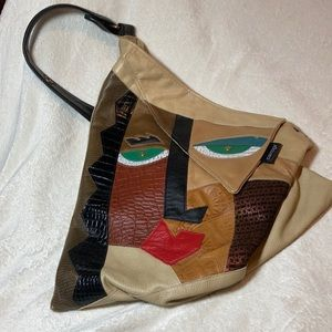 Funky face leather art tote shoulder bag by carogi